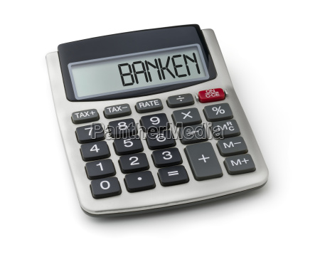 pocket calculator with the word banks