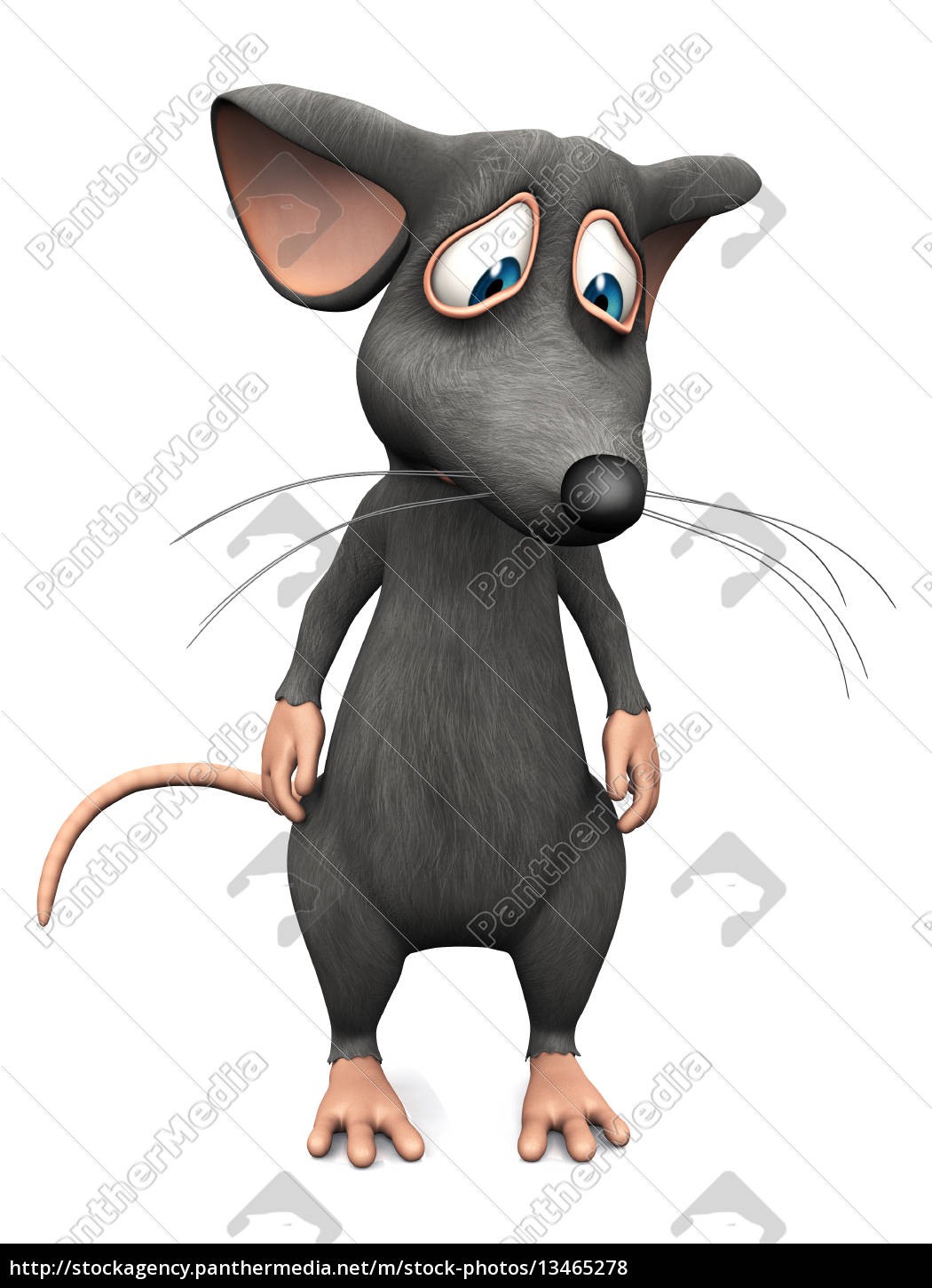 cartoon, mouse, looking, very, sad. - 13465278