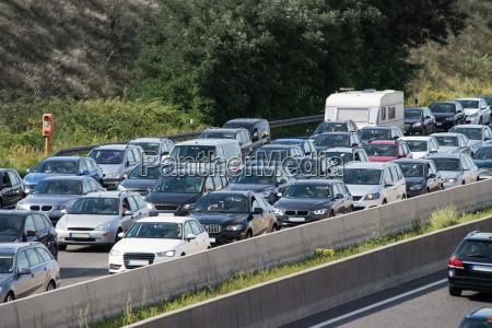 car traffic jam on highway during