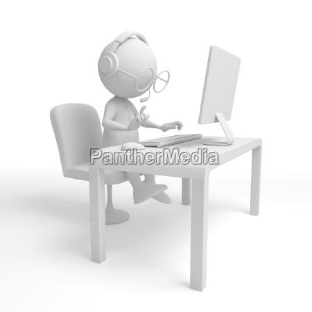 3d white character operator programmer