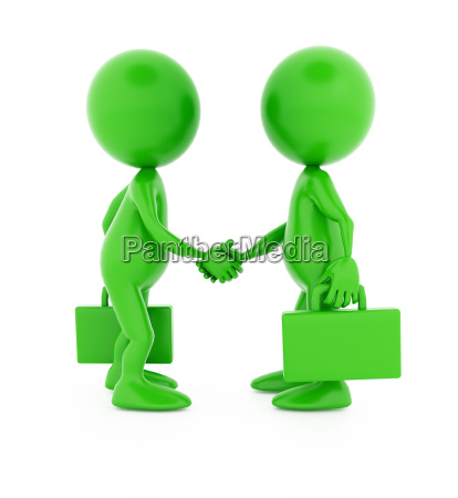 successful deal two 3d green characters