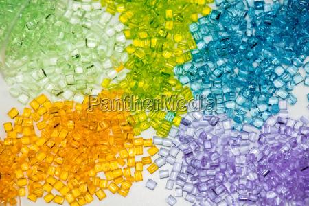 transparent plastic granulates