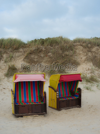 beach baskets on the north sea