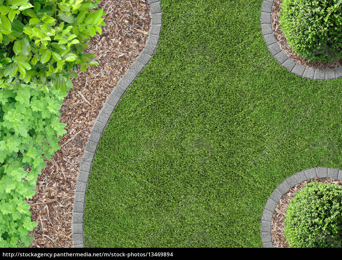 lawn, garden, from, above, and, beds - 13469894