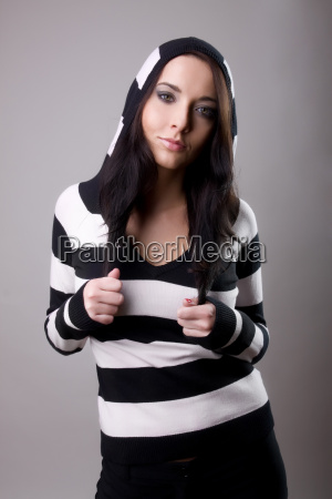 attractive young girl in cardigan