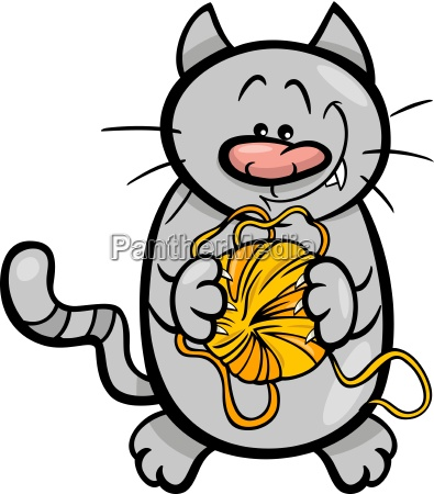 cat with yarn cartoon illustration
