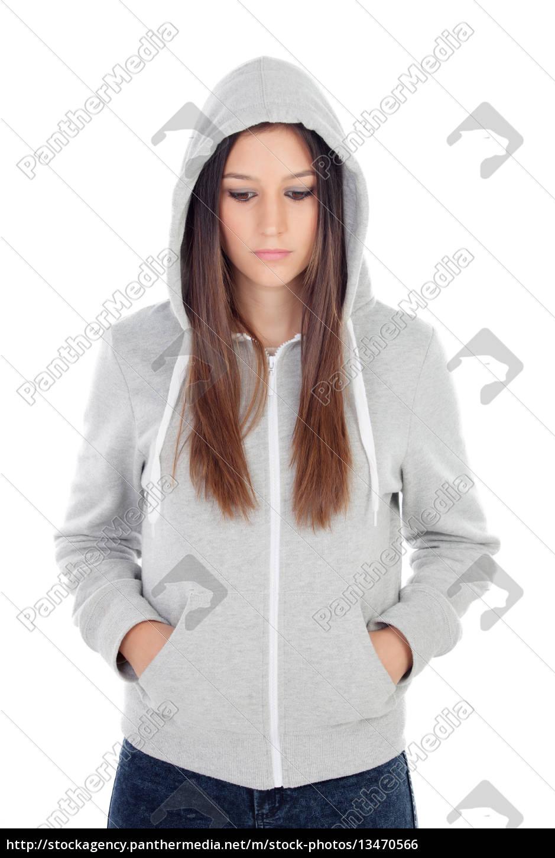 sad, teenager, girl, with, gray, sweatshirt - 13470566