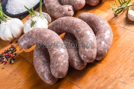 home made white sausage out pigs