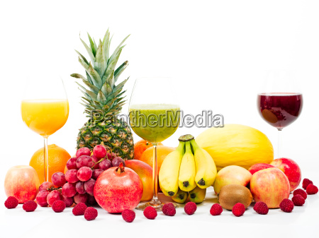 fruits and tropical fruits with fruit