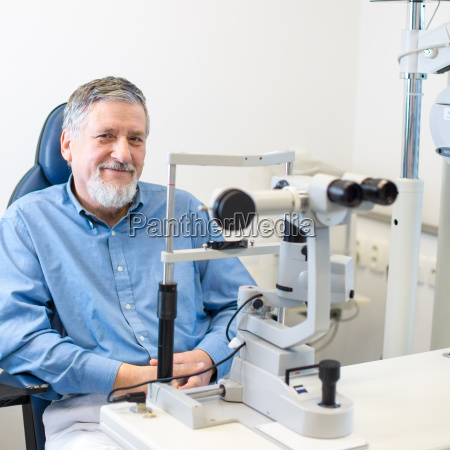 optometry concept senior patient sitting