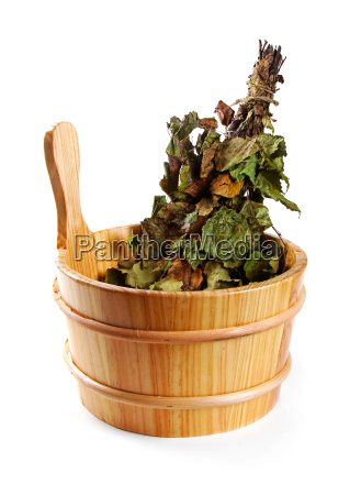 sauna accessories bucket with birch