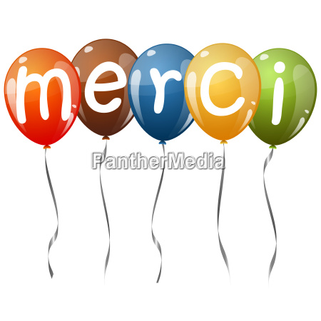 flying, balloons, with, text, merci - 13494026