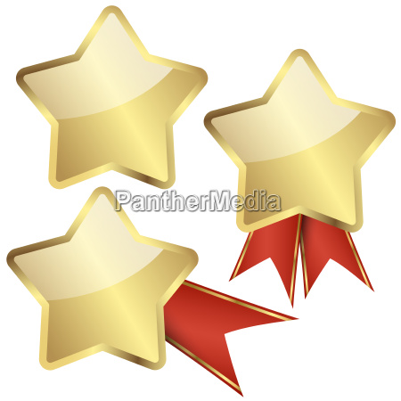 template, golden, star, with, ribbons - 13494100