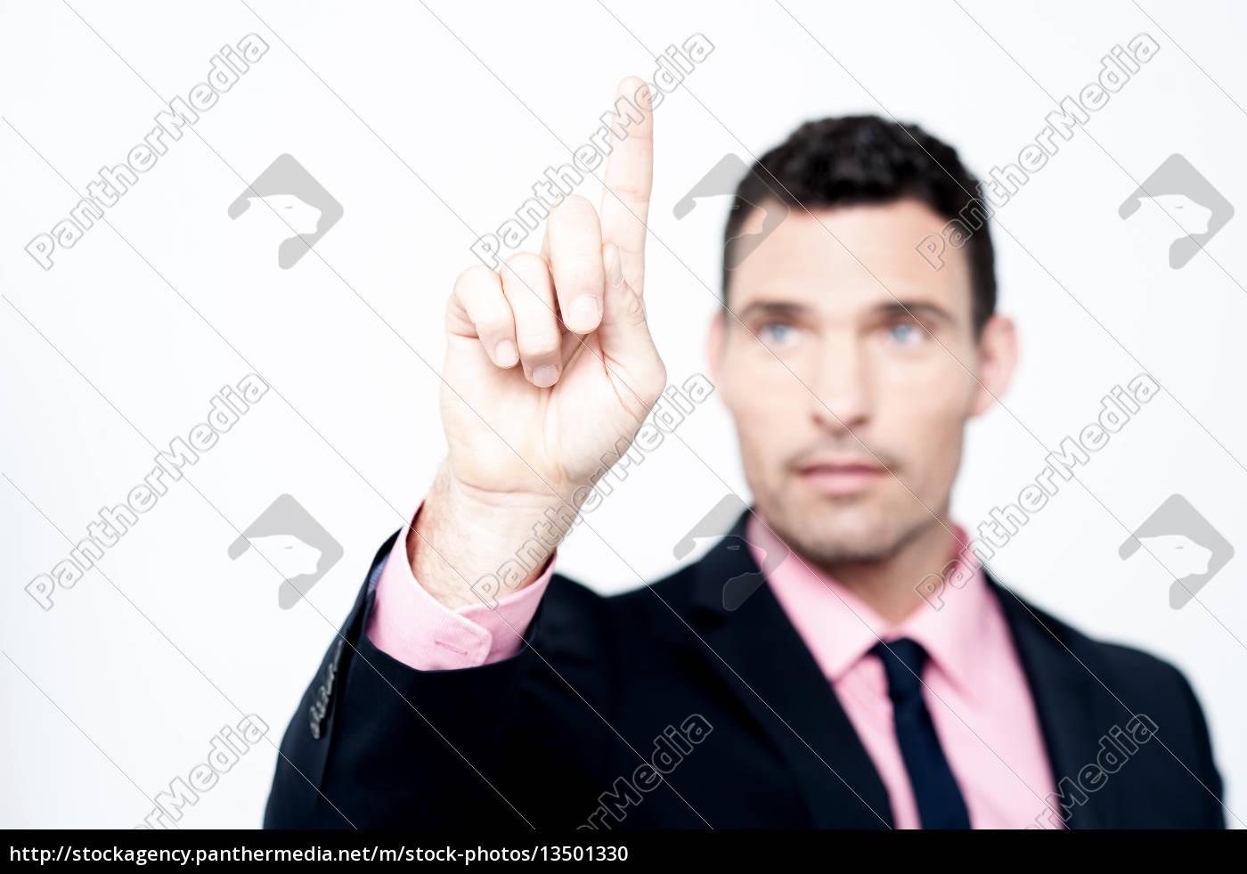 businessman, selecting, , focus, on, finger - 13501330