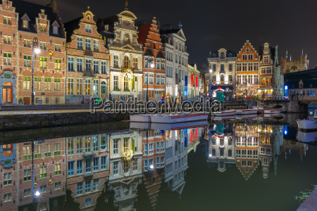 quay, korenlei, with, reflections, in, ghent - 13502684