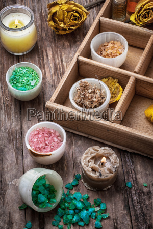 wooden box with accessories for spa