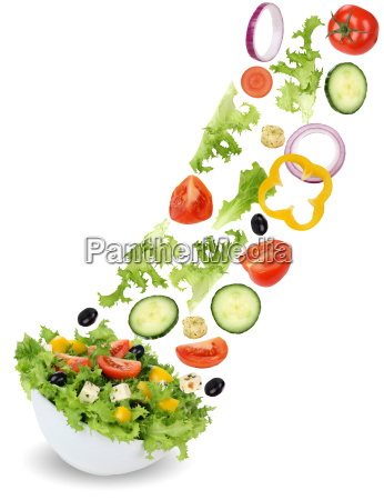 flying salad with tomato cucumber onion