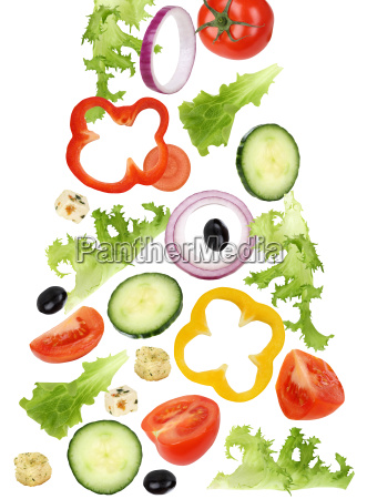 falling salad with tomato cucumber onion