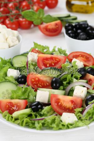 healthy vegetarian food greek salad on