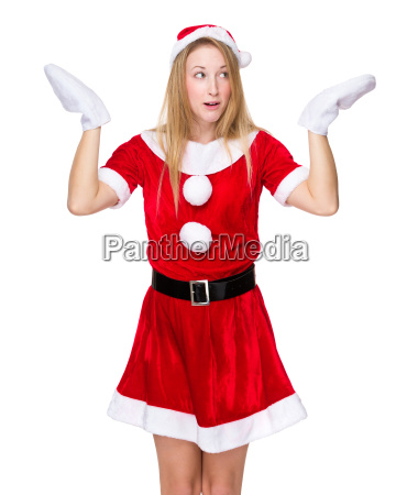christmas girl shrug her shoulder with