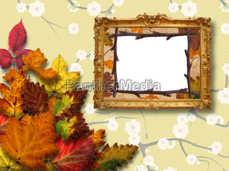 frame on the wall with autumn