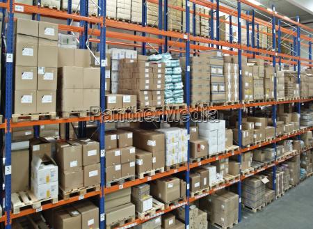 warehouse with high shelf
