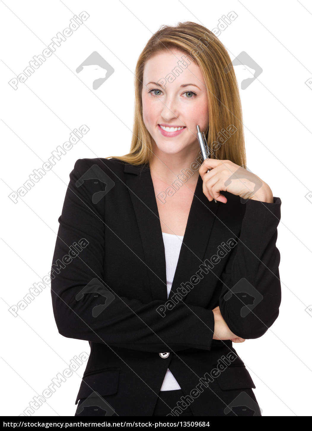 businesswoman, hold, with, pen - 13509684