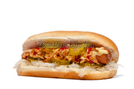 hotdoghot dog in front of white
