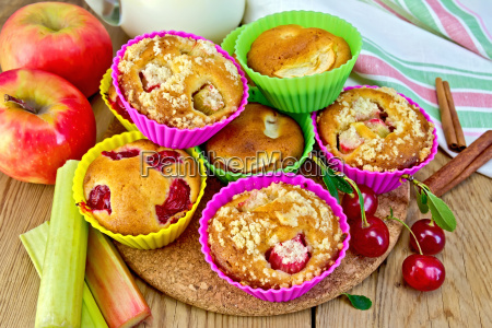 cupcakes with rhubarb and cherry in