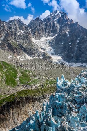 argentiere glacier in chamonix alps mont