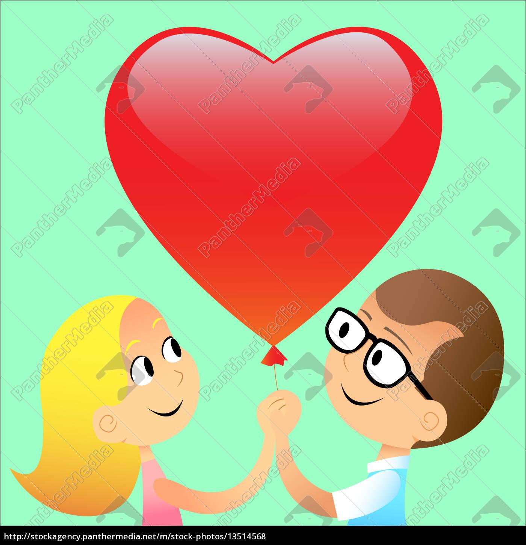 boy, girl, ball, red, heart - 13514568