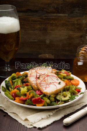 pork roast marinated with vegetables and