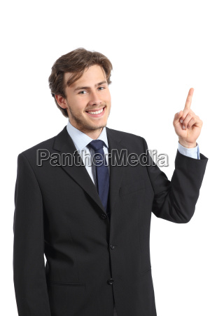young happy business man pointing at