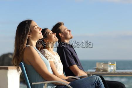 group of friends breathing fresh air