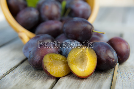 plums prunes with shell on