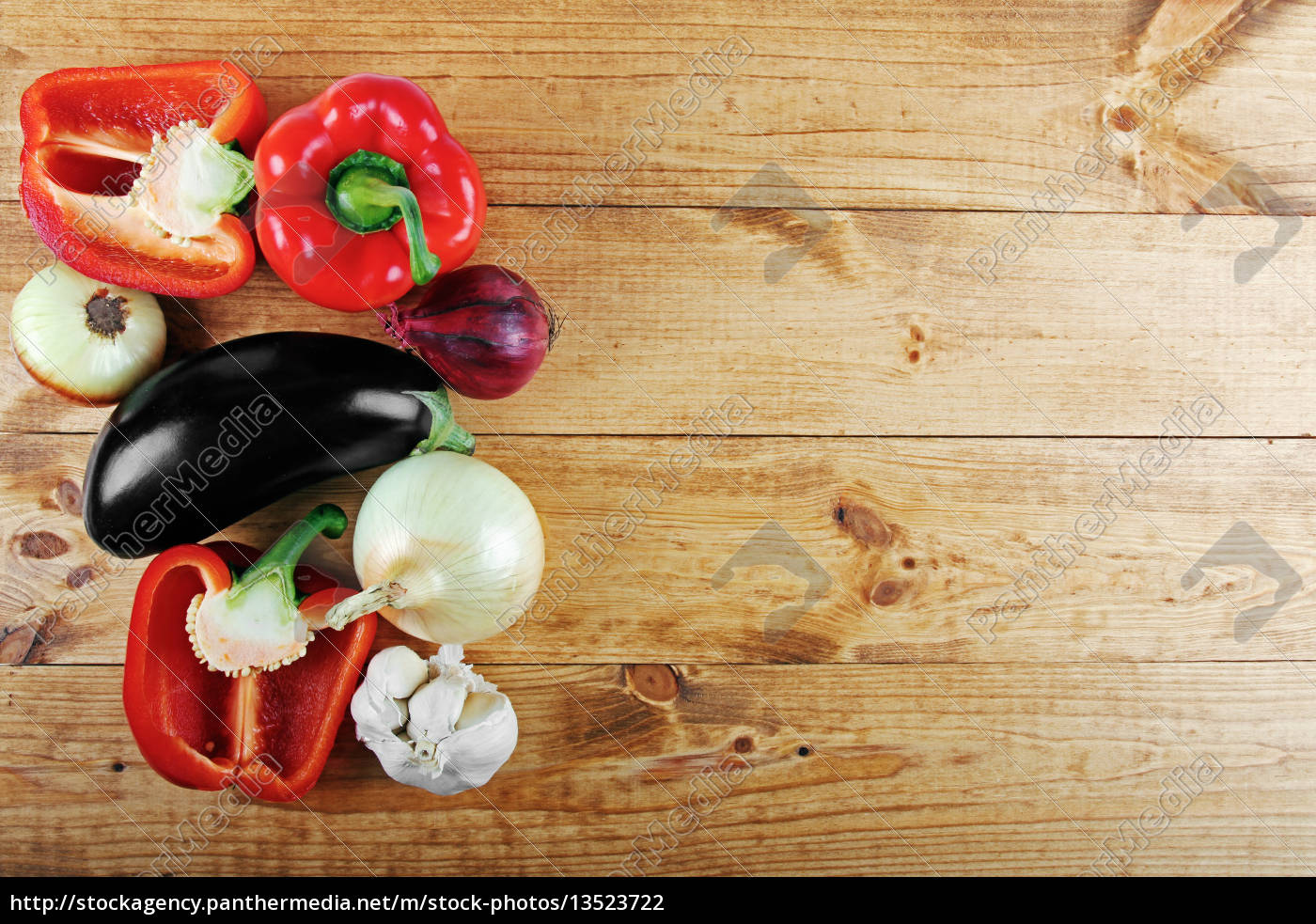 fresh, vegetables, on, wooden, table, from - 13523722