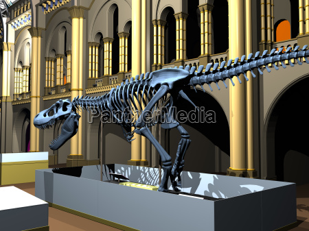 british natural history museum with dinosaur