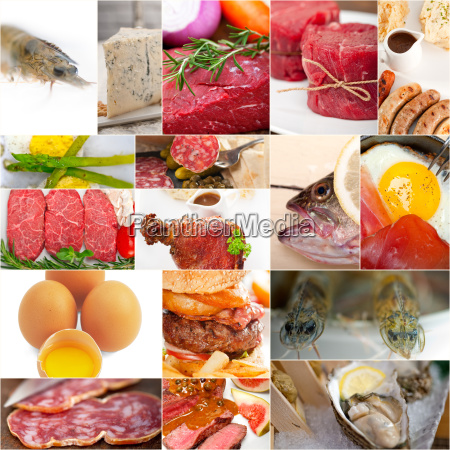 high, protein, food, collection, collage - 13534790