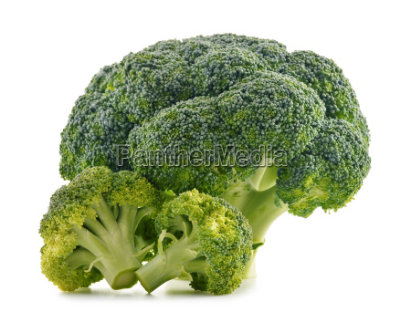 fresh organic broccoli isolated on white