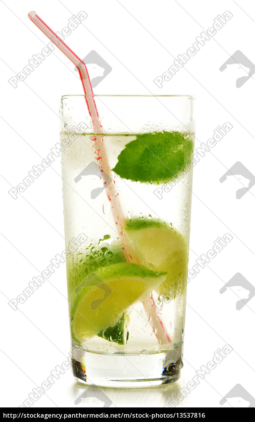 glass, of, water, with, lime, and - 13537816