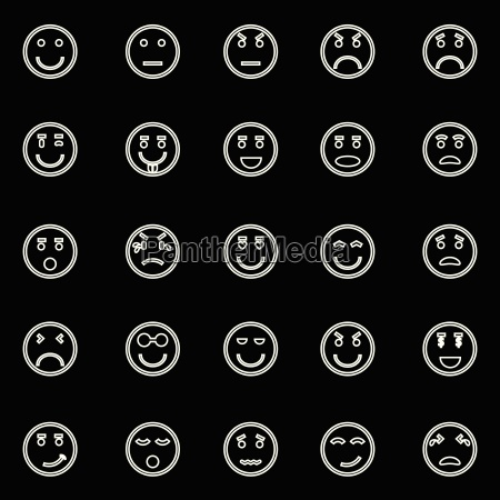 circle face line icons on black