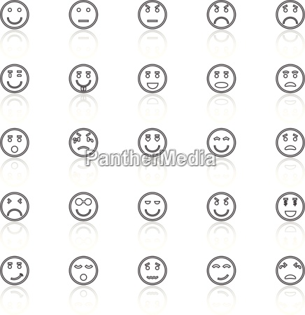 circle face line icons with reflect