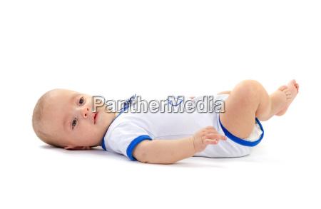 baby, boy, lying, on, white, floor - 13546198