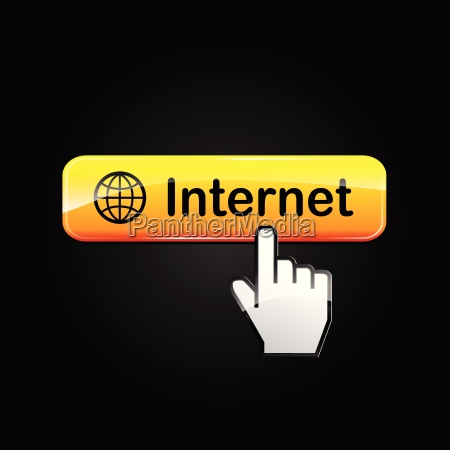 internet orange web button