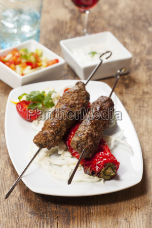 kebab skewers with grilled peppers