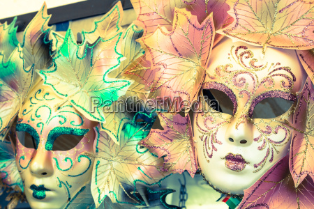 souvenirs and carnival masks on street