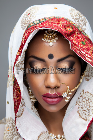 exotic indian bride dressed up for