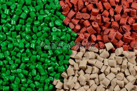 various colored plastic granulates