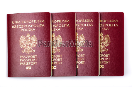 polish passports on a white background