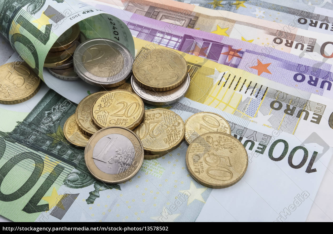 euro, (eur), coins, and, notes. - 13578502